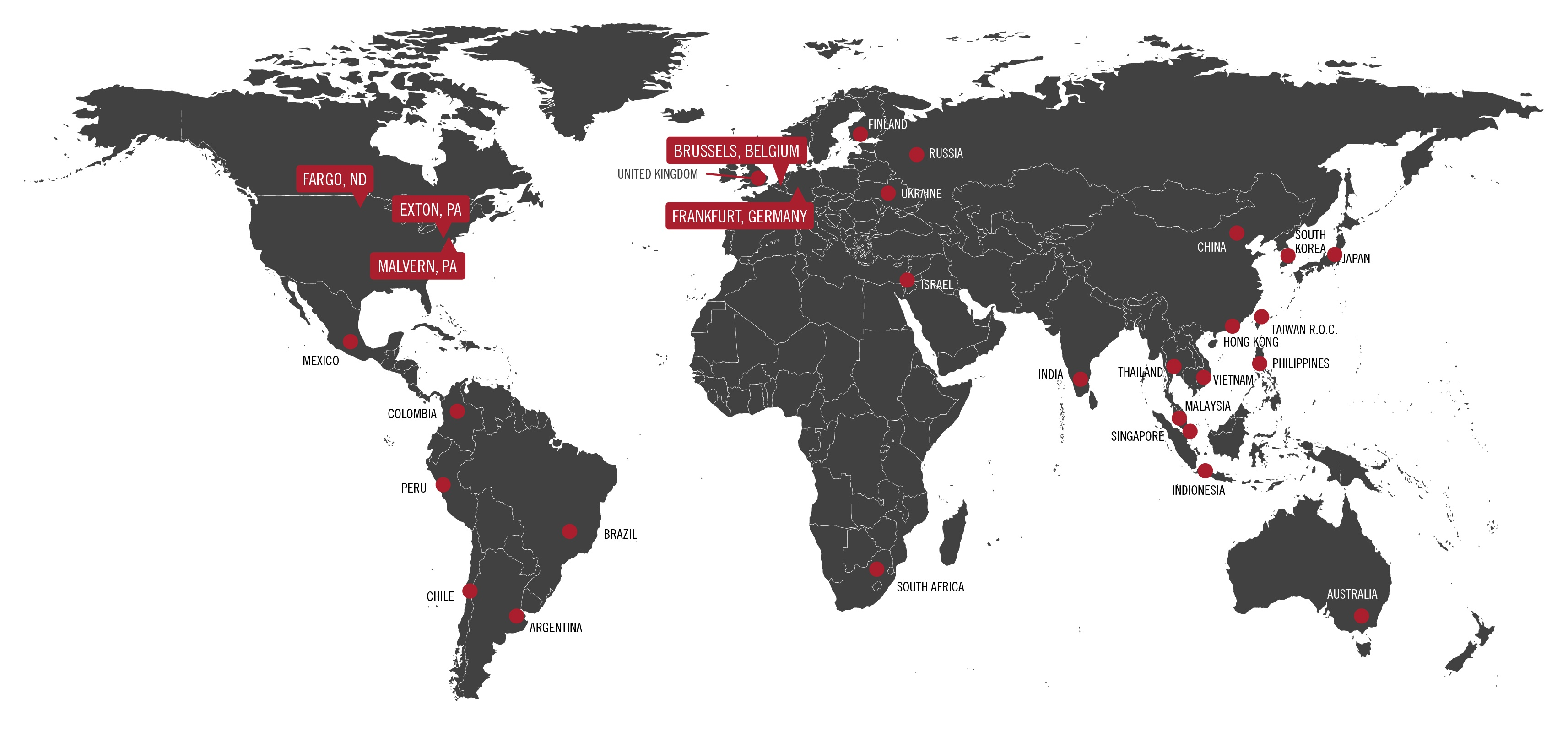clinical trial global storage and distribution map of CSM's network and partner facilities